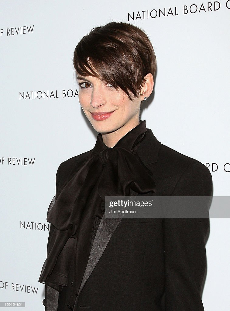 Actress <a gi-track='captionPersonalityLinkClicked' href=/galleries/search?phrase=Anne+Hathaway+-+Actress&family=editorial&specificpeople=11647173 ng-click='$event.stopPropagation()'>Anne Hathaway</a> attends the 2013 National Board Of Review Awards Gala at Cipriani Wall Street on January 8, 2013 in New York City.