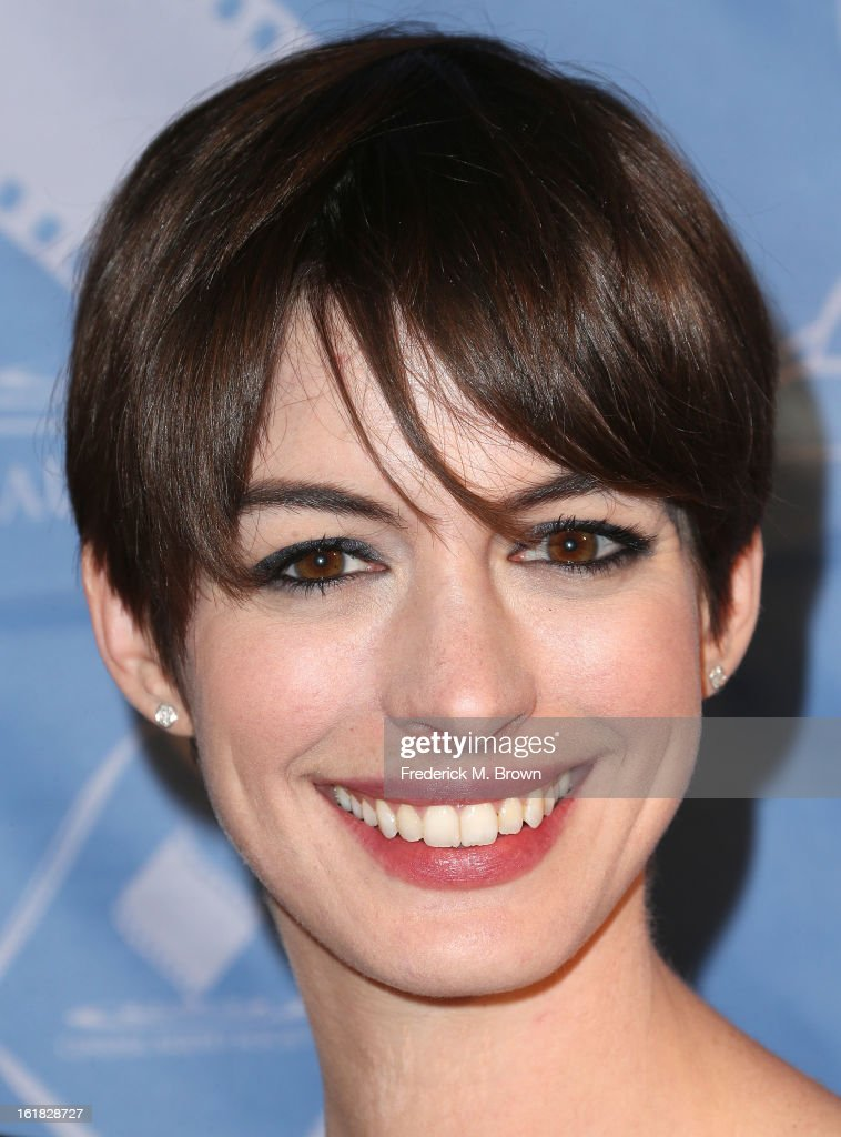 Actress Anne Hathaway attends the 49th Annual Cinema Audio Society Awards 'CAS' at the Millennium Biltmore Hotel on February 16, 2013 in Los Angeles, California.