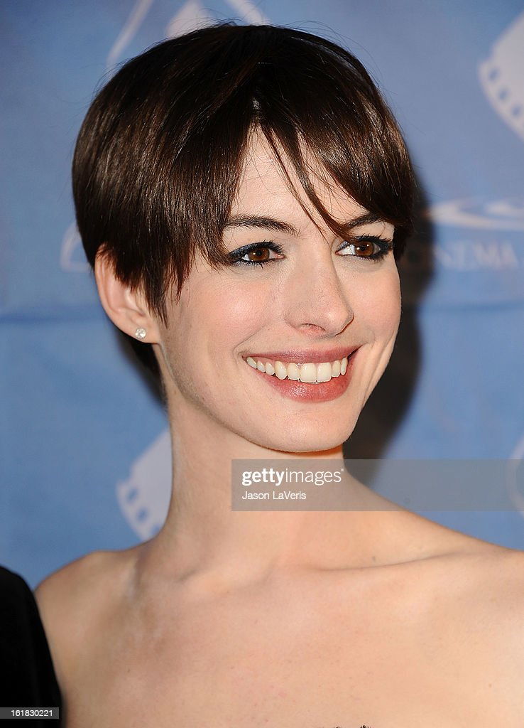 Actress <a gi-track='captionPersonalityLinkClicked' href=/galleries/search?phrase=Anne+Hathaway+-+Actrice&family=editorial&specificpeople=11647173 ng-click='$event.stopPropagation()'>Anne Hathaway</a> attends the 49th annual Cinema Audio Society Guild Awards at Millennium Biltmore Hotel on February 16, 2013 in Los Angeles, California.