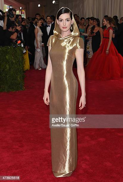Actress Anne Hathaway attends the 'China Through The Looking Glass' Costume Institute Benefit Gala at the Metropolitan Museum of Art on May 4 2015 in...