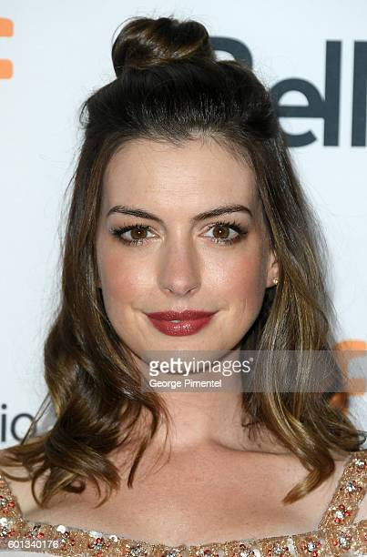 Actress Anne Hathaway attends the 'Colossal' premiere during the 2016 Toronto International Film Festival at Ryerson Theatre on September 9 2016 in...