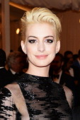 Actress Anne Hathaway attends the Costume Institute Gala for the 'PUNK Chaos to Couture' exhibition at the Metropolitan Museum of Art on May 6 2013...