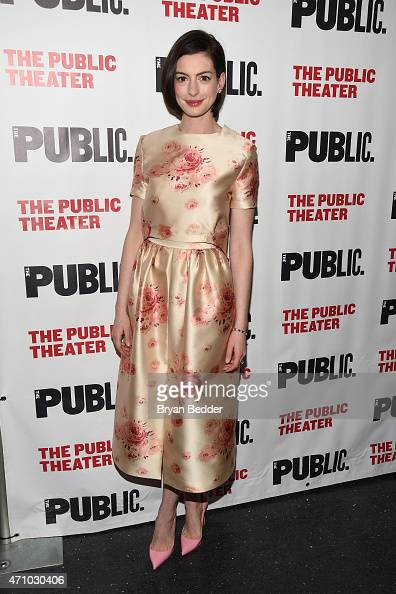 Actress Anne Hathaway attends the 'Grounded' Party at The Public Theater on April 24 2015 in New York City