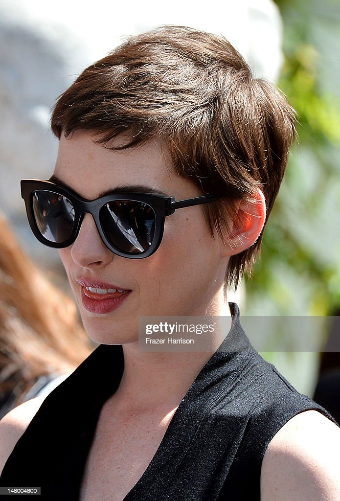 Actress Anne Hathaway attends the Hand and Footprint Ceremony for Director, Writer, Producer Christopher Nolan, at Grauman's Chinese Theatre on July 7, 2012 in Hollywood, California.
