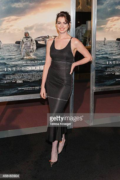 Actress Anne Hathaway attends the 'Interstellar' premiere at the National Air and Space Museum on November 5 2014 in Washington DC
