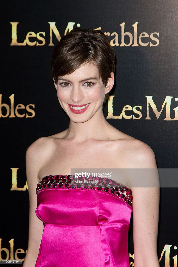 Actress <a gi-track='captionPersonalityLinkClicked' href=/galleries/search?phrase=Anne+Hathaway+-+Actress&family=editorial&specificpeople=11647173 ng-click='$event.stopPropagation()'>Anne Hathaway</a> attends the 'Les Miserables' Paris Premiere as part of Avenue Du Cinema Festival at Cinema Gaumont Marignan on February 6, 2013 in Paris, France.