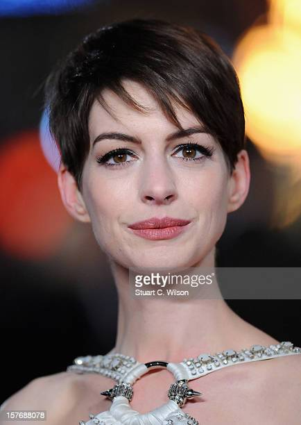 Actress Anne Hathaway attends the 'Les Miserables' World Premiere at the Odeon Leicester Square on December 5 2012 in London England