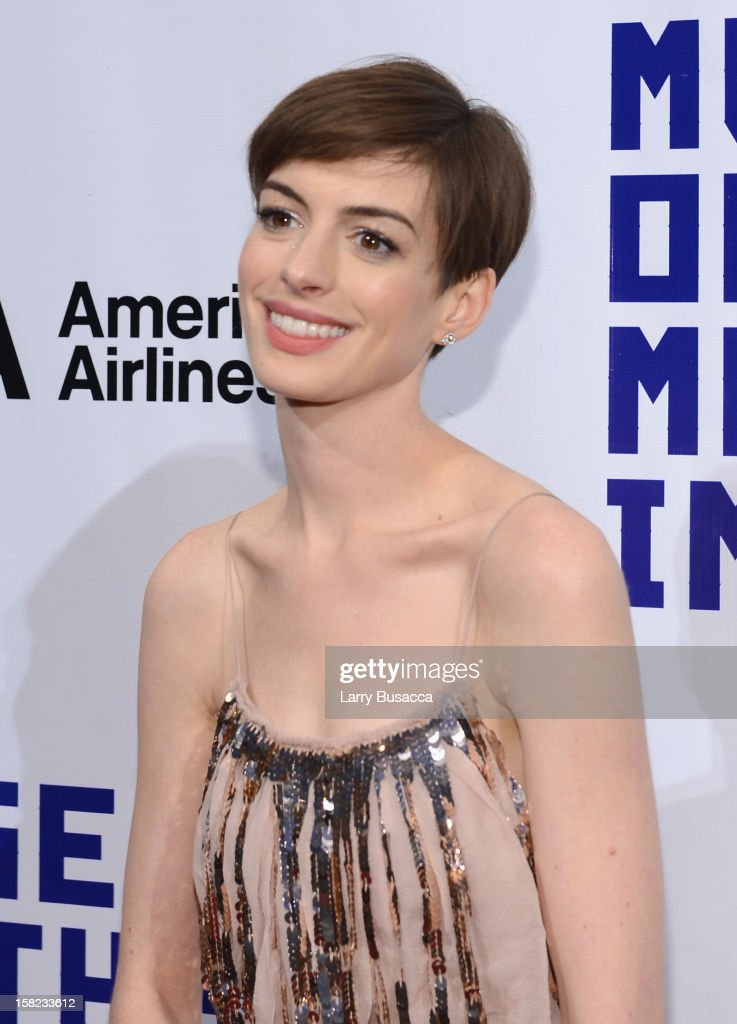 Actress <a gi-track='captionPersonalityLinkClicked' href=/galleries/search?phrase=Anne+Hathaway+-+Actress&family=editorial&specificpeople=11647173 ng-click='$event.stopPropagation()'>Anne Hathaway</a> attends the Museum Of Moving Images Salute To Hugh Jackman at Cipriani Wall Street on December 11, 2012 in New York City.