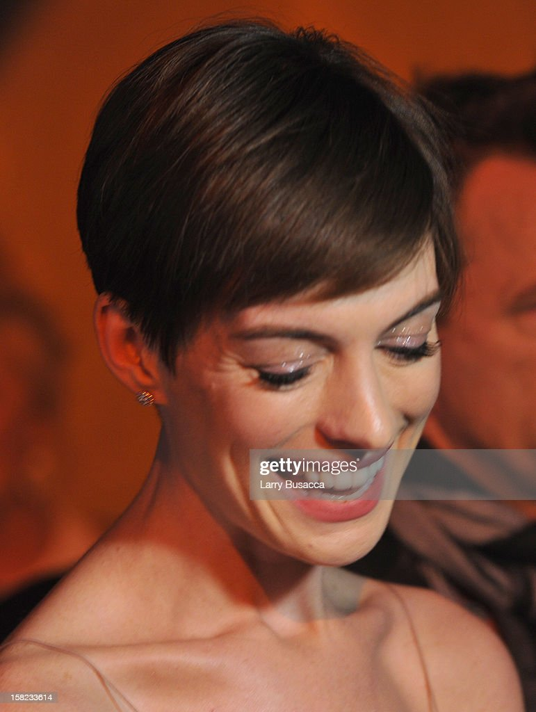 Actress Anne Hathaway attends the Museum Of Moving Images Salute To Hugh Jackman at Cipriani Wall Street on December 11, 2012 in New York City.