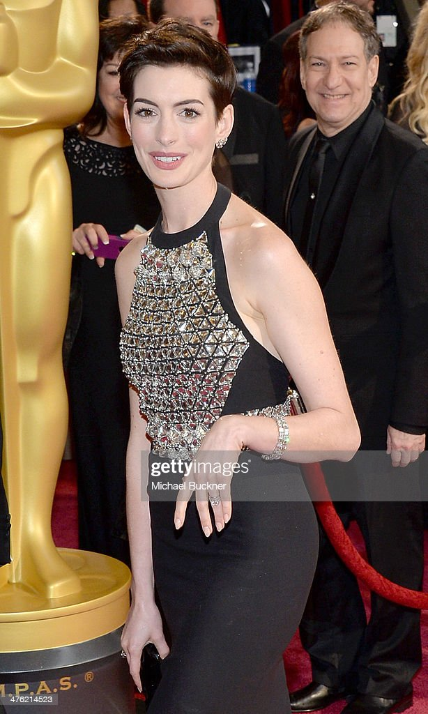 Actress Anne Hathaway attends the Oscars held at Hollywood & Highland Center on March 2, 2014 in Hollywood, California.
