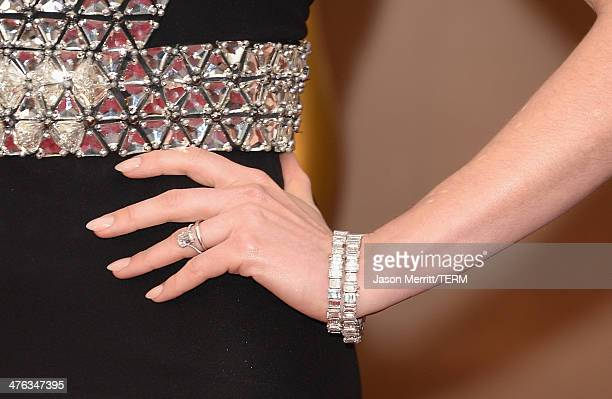 Actress Anne Hathaway attends the Oscars held at Hollywood Highland Center on March 2 2014 in Hollywood California
