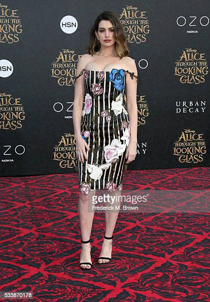 Actress Anne Hathaway attends the premiere of Disney's 'Alice Through The Looking Glass' at the El Capitan Theatre on May 23 2016 in Hollywood...
