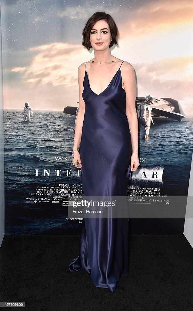 Actress <a gi-track='captionPersonalityLinkClicked' href=/galleries/search?phrase=Anne+Hathaway+-+Actress&family=editorial&specificpeople=11647173 ng-click='$event.stopPropagation()'>Anne Hathaway</a> attends the premiere of Paramount Pictures' 'Interstellar' at TCL Chinese Theatre IMAX on October 26, 2014 in Hollywood, California.