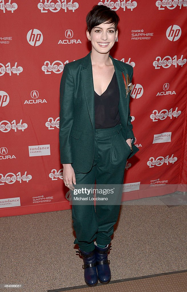 Actress <a gi-track='captionPersonalityLinkClicked' href=/galleries/search?phrase=Anne+Hathaway+-+Actress&family=editorial&specificpeople=11647173 ng-click='$event.stopPropagation()'>Anne Hathaway</a> attends the premiere of 'Song One' at the Eccles Center Theatre during the 2014 Sundance Film Festival on January 20, 2014 in Park City, Utah.