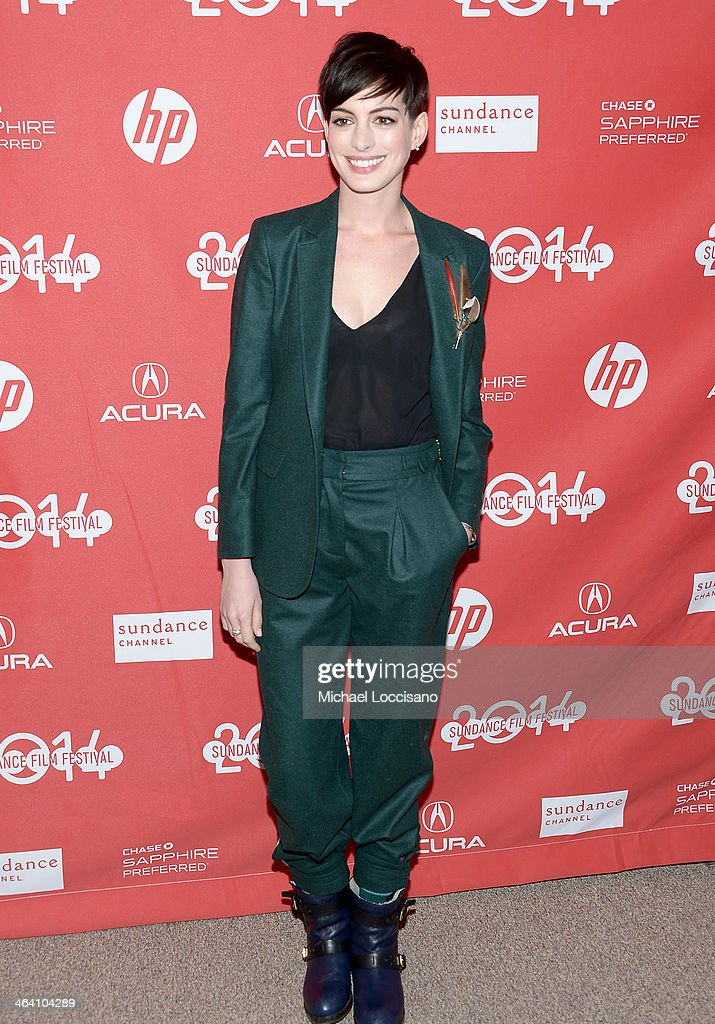Actress Anne Hathaway attends the premiere of 'Song One' at the Eccles Center Theatre during the 2014 Sundance Film Festival on January 20 2014 in...