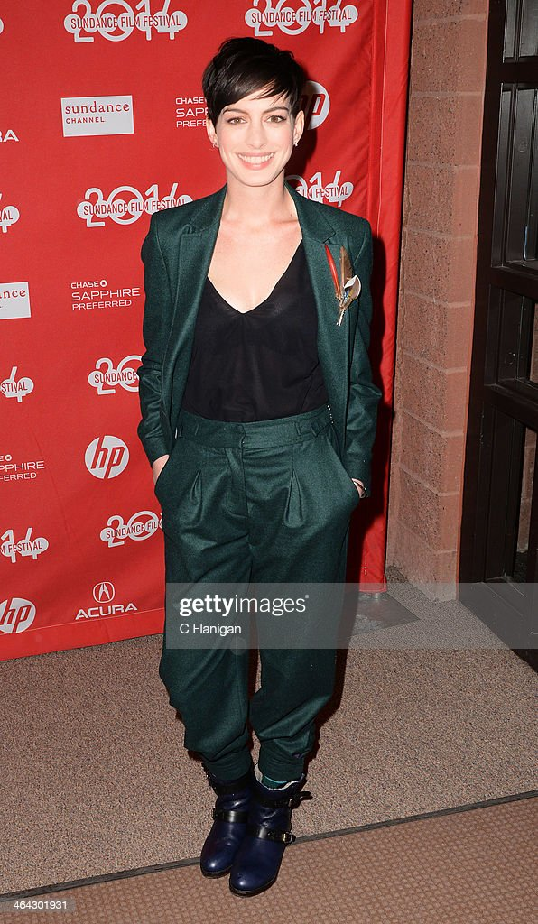 Actress Anne Hathaway attends the premiere of 'Song One' at the Eccles Center Theatre during the 2014 Sundance Film Festival on January 20, 2014 in Park City, Utah.