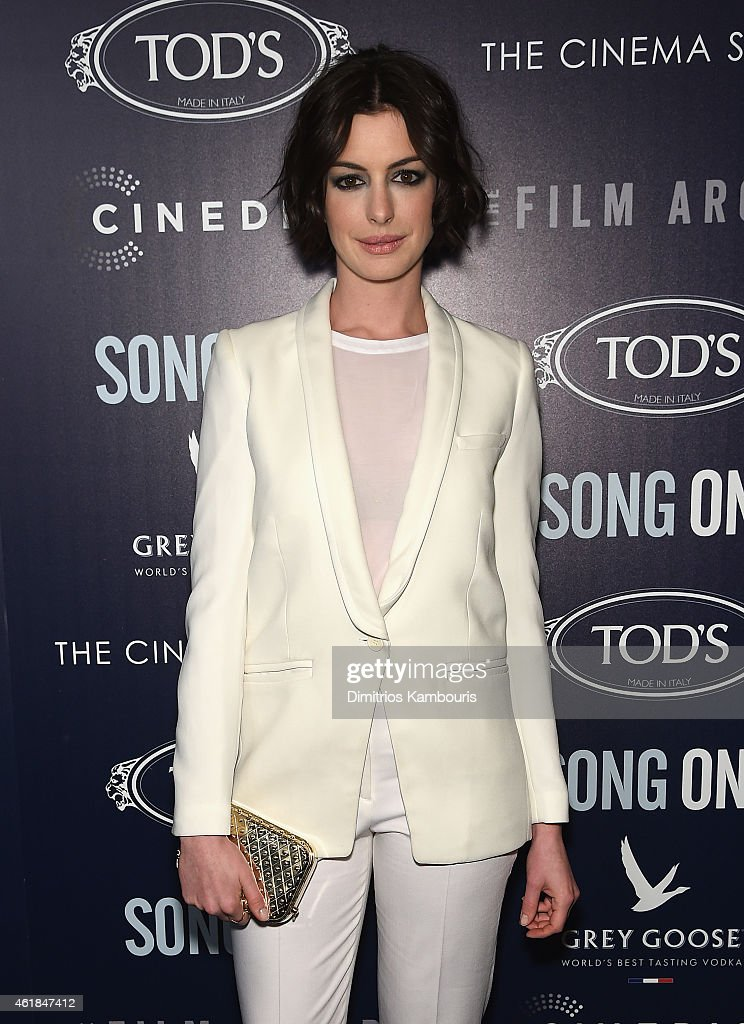 Actress <a gi-track='captionPersonalityLinkClicked' href=/galleries/search?phrase=Anne+Hathaway+-+Actrice&family=editorial&specificpeople=11647173 ng-click='$event.stopPropagation()'>Anne Hathaway</a> attends the premiere of the Film Arcade & Cinedigm's 'Song One' hosted by the Cinema Society & Tod's at Landmark's Sunshine Cinema on January 20, 2015 in New York City.
