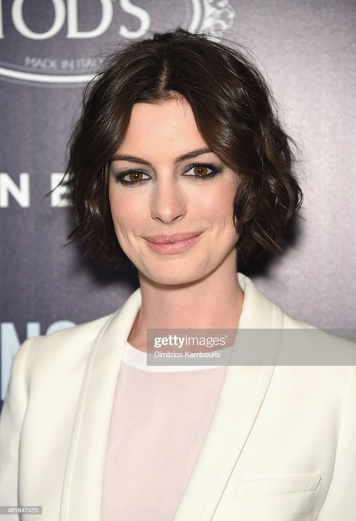 Actress Anne Hathaway attends the premiere of the Film Arcade & Cinedigm's 'Song One' hosted by the Cinema Society & Tod's at Landmark's Sunshine Cinema on January 20, 2015 in New York City.