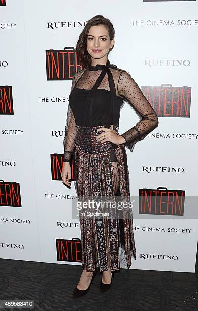 Actress Anne Hathaway attends the The Cinema Society and Ruffino host a screening of Warner Bros Pictures' 'The Intern' at the Landmark's Sunshine...
