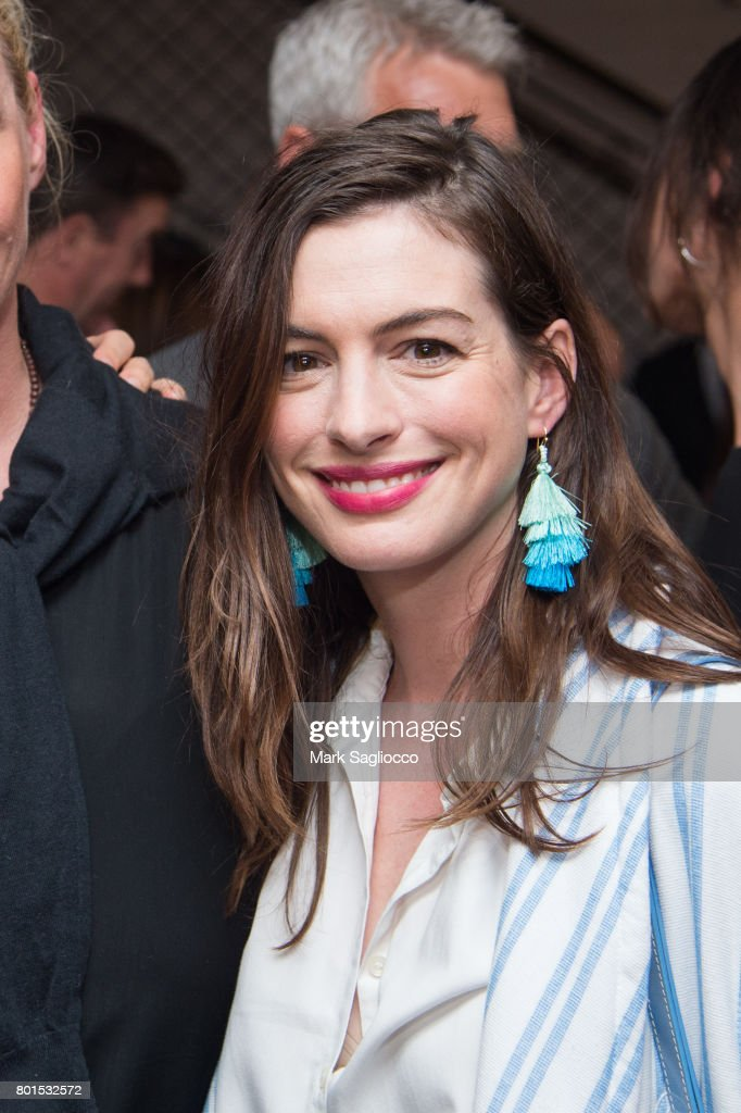 Actress Anne Hathaway attends TriStar Pictures, The Cinema Society and Avion's screening of 'Baby Driver' at The Metrograph on June 26, 2017 in New York City.