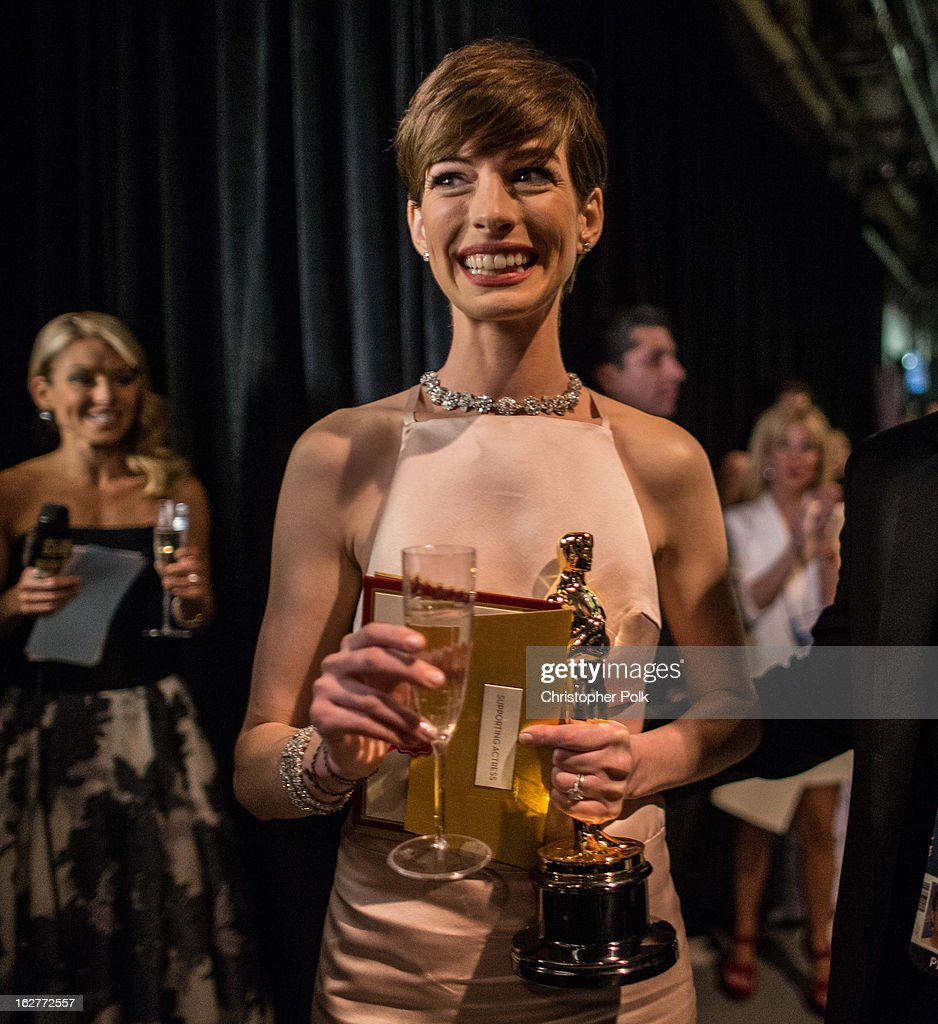Actress Anne Hathaway backstage following her win for the Best Actress in a Supporting Role during the Oscars held at the Dolby Theatre on February 24, 2013 in Hollywood, California.