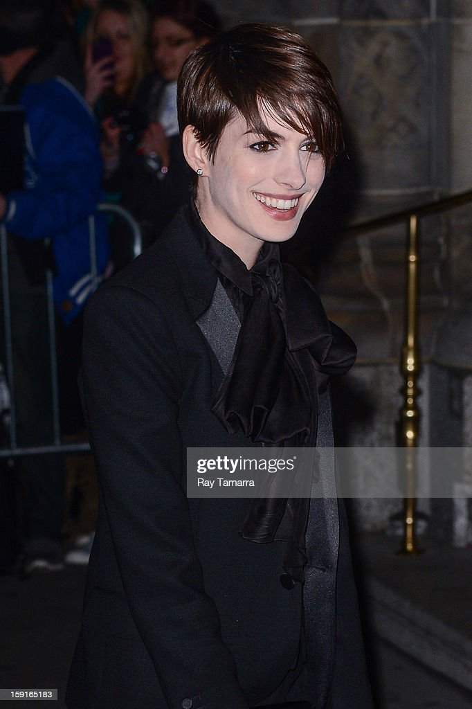 Actress <a gi-track='captionPersonalityLinkClicked' href=/galleries/search?phrase=Anne+Hathaway+-+Actress&family=editorial&specificpeople=11647173 ng-click='$event.stopPropagation()'>Anne Hathaway</a> enters Cipriani 42nd Street on January 8, 2013 in New York City.
