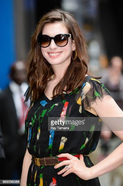 Actress Anne Hathaway enters the 'Good Morning America' taping at the ABC Times Square Studios on April 17 2017 in New York City