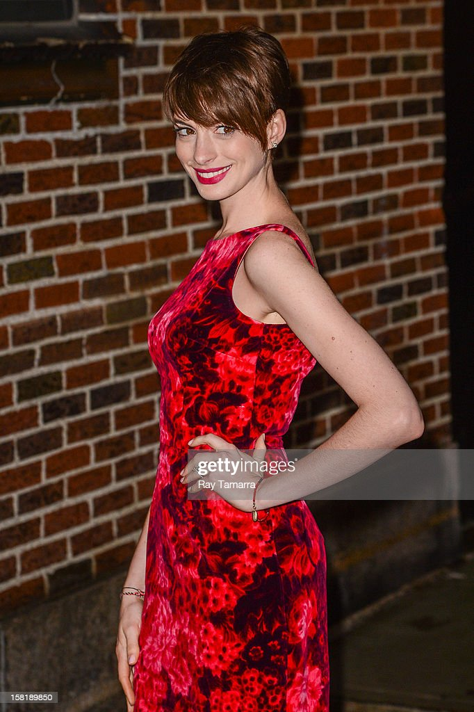 Actress Anne Hathaway enters the 'Late Show With David Letterman' taping at the Ed Sullivan Theater on December 10, 2012 in New York City.