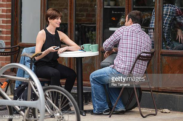 Actress Anne Hathaway films a scene at the 'Song One' movie set in Williamsburg Brooklyn on June 6 2013 in New York City
