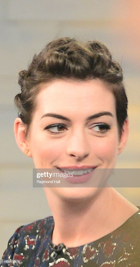 Actress Anne Hathaway is seen on 'Good Morning America'on April 8, 2014 in New York City.