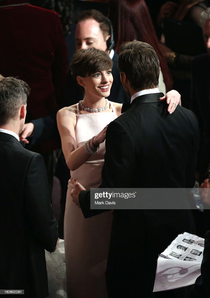 Actress <a gi-track='captionPersonalityLinkClicked' href=/galleries/search?phrase=Anne+Hathaway+-+Actress&family=editorial&specificpeople=11647173 ng-click='$event.stopPropagation()'>Anne Hathaway</a> onstage during the Oscars held at the Dolby Theatre on February 24, 2013 in Hollywood, California.