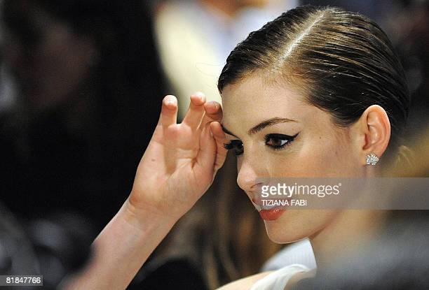 US actress Anne Hathaway poses as she arrives at the cinema in central Rome on July 7 2008 for the premiere of the film 'Get Smart' AFP PHOTO/...