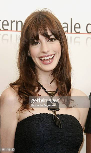 Actress Anne Hathaway poses at the photocall for the competition film 'Brokeback Mountain' at the Palazzo del Cinema as part of the 62nd Venice Film...