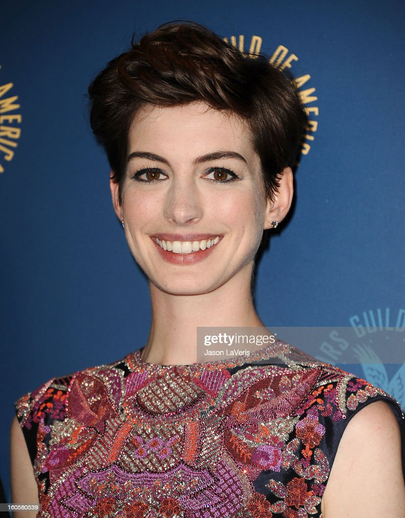 Actress <a gi-track='captionPersonalityLinkClicked' href=/galleries/search?phrase=Anne+Hathaway+-+Actriz&family=editorial&specificpeople=11647173 ng-click='$event.stopPropagation()'>Anne Hathaway</a> poses in the press room at the 65th annual Directors Guild Of America Awards at The Ray Dolby Ballroom at Hollywood & Highland Center on February 2, 2013 in Hollywood, California.