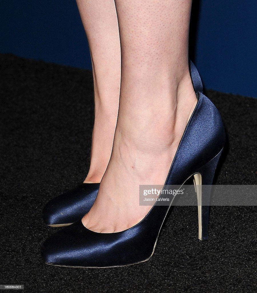 Actress Anne Hathaway (shoe detail) poses in the press room at the 65th annual Directors Guild Of America Awards at The Ray Dolby Ballroom at Hollywood & Highland Center on February 2, 2013 in Hollywood, California.