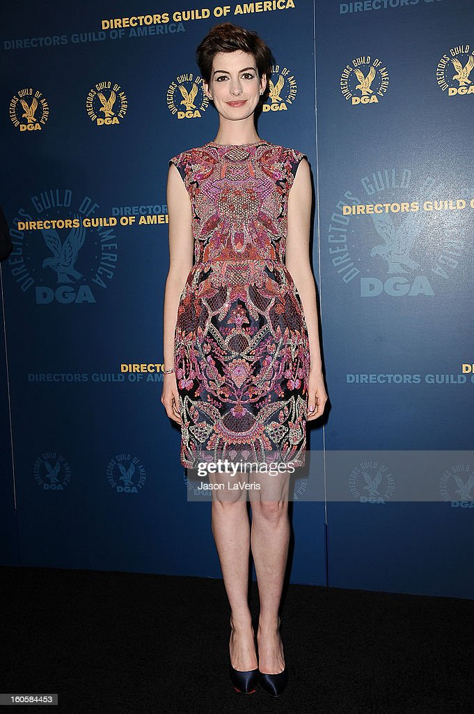 Actress Anne Hathaway poses in the press room at the 65th annual Directors Guild Of America Awards at The Ray Dolby Ballroom at Hollywood & Highland Center on February 2, 2013 in Hollywood, California.