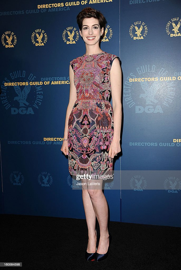 Actress <a gi-track='captionPersonalityLinkClicked' href=/galleries/search?phrase=Anne+Hathaway+-+Actress&family=editorial&specificpeople=11647173 ng-click='$event.stopPropagation()'>Anne Hathaway</a> poses in the press room at the 65th annual Directors Guild Of America Awards at The Ray Dolby Ballroom at Hollywood & Highland Center on February 2, 2013 in Hollywood, California.