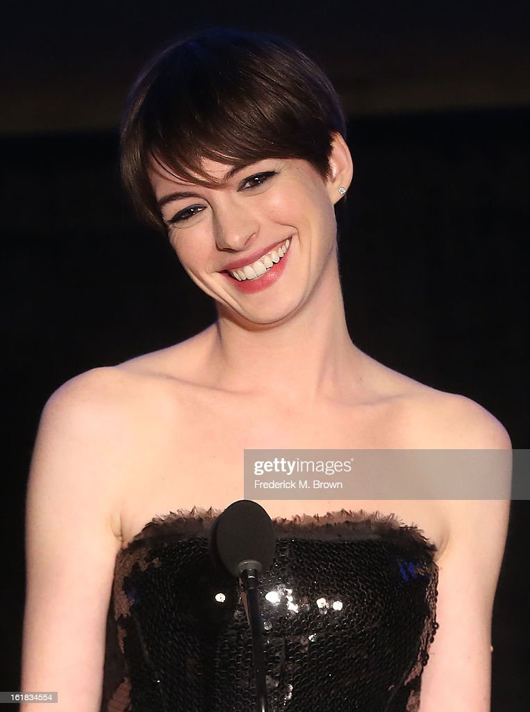 Actress Anne Hathaway speaks during the 49th Annual Cinema Audio Society Awards 'CAS' at the Millennium Biltmore Hotel on February 16, 2013 in Los Angeles, California.