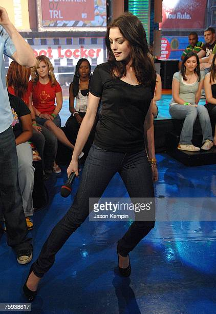 Actress Anne Hathaway visits MTV's TRL at MTV Studios in Times Square on July 31 2007 in New York City