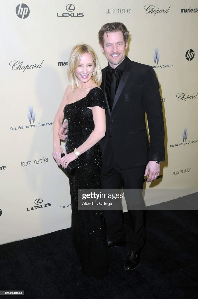 Actress Anne Heche and actor James Tupper arrive for the Weinstein Company's 2013 Golden Globe Awards After Party - Arrivals on January 13, 2013 in Beverly Hills, California.