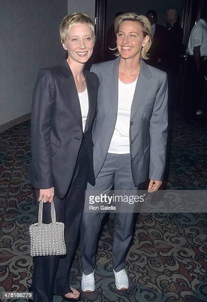 Actress Anne Heche and comedienne Ellen DeGeneres attend the 10th Annual GLAAD Media Awards on April 17 1999 at Century Plaza Hotel in Century City...