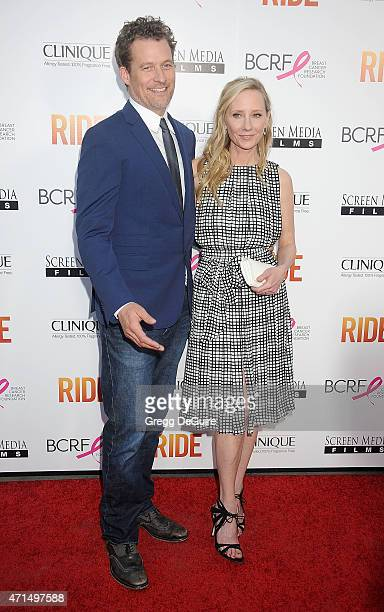 Actress Anne Heche and James Tupper arrive at the Los Angeles premiere of 'Ride' at ArcLight Hollywood on April 28 2015 in Hollywood California