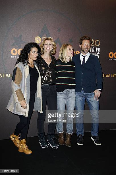 Actress Anne Marivin Sabrina Ouazani Actress Alexandra Lamy and Actor Jamie Bamber attend 'Sous le Meme Toit' Photocall during tne 20th L'Alpe D'Huez...