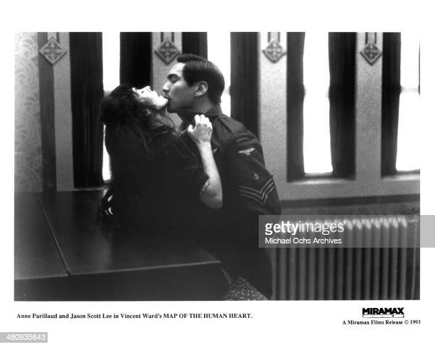Actress Anne Parillaud and actor Jason Scott Lee in a scene from the Miramax movie ' Map of the Human Heart' circa 1992