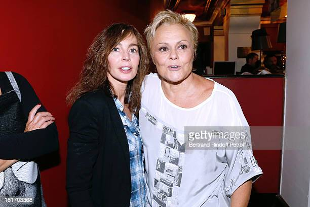 Actress Anne Parillaud and Muriel Robin attend Muriel Robin show 'Robin revient 'Tsoin Tsoin'' Premiere at Porte SaintMartin Theater in Paris on...