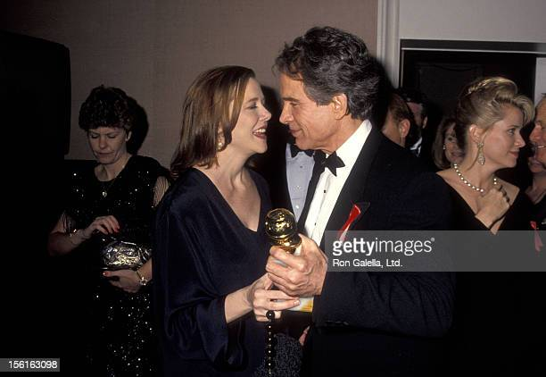 Actress Annette Bening and actor Warren Beatty attend the 49th Annual Golden Globe Awards on January 18 1992 at Beverly Hilton Hotel in Beverly Hills...