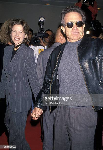Actress Annette Bening and actor Warren Beatty attend the 'Disclosure' Westwood Premiere on November 28 1994 at Mann Bruin Theatre in Westwood...