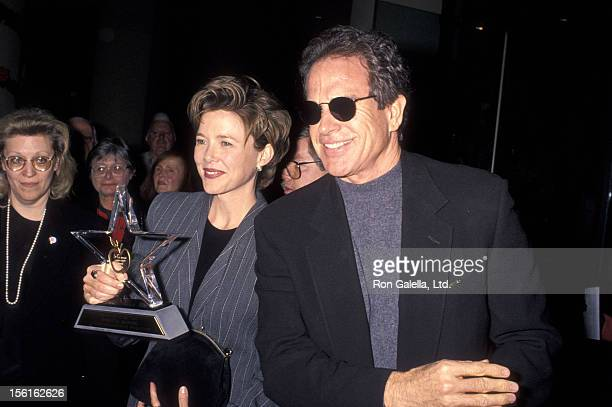 Actress Annette Bening and actor Warren Beatty attend the Hollywood Women's Press Club's 54th Annual Golden Apple Awards on December 11 1994 at...