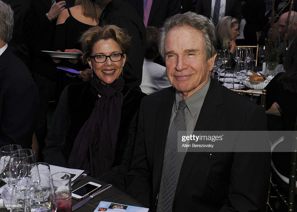 Actress <a gi-track='captionPersonalityLinkClicked' href=/galleries/search?phrase=Annette+Bening&family=editorial&specificpeople=202568 ng-click='$event.stopPropagation()'>Annette Bening</a> and actor <a gi-track='captionPersonalityLinkClicked' href=/galleries/search?phrase=Warren+Beatty&family=editorial&specificpeople=201478 ng-click='$event.stopPropagation()'>Warren Beatty</a> attend UCLA Institute Of The Environment And Sustainability's 2nd Annual 'An Evening Of Environmental Excellence' - Inside on March 5, 2013 in Beverly Hills, California.