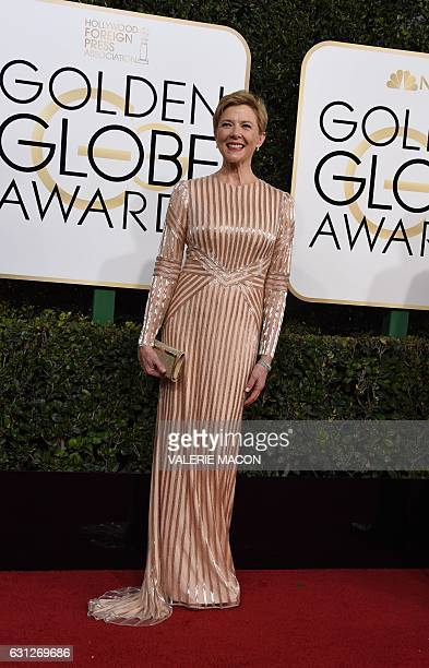 Actress Annette Bening arrives at the 74th annual Golden Globe Awards January 8 at the Beverly Hilton Hotel in Beverly Hills California / AFP /...